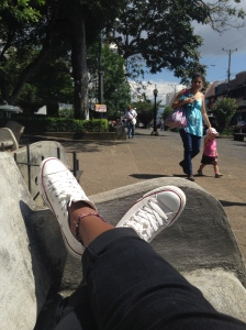 People watching in Parque Central, Heredia, Costa Rica