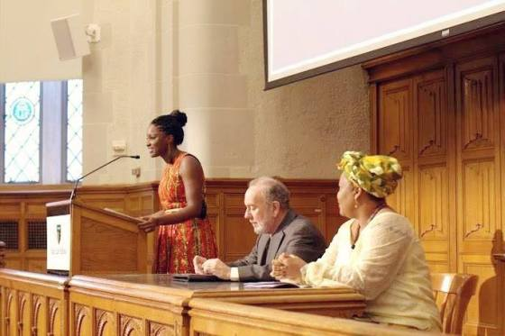 Kiki introducing Nobel Peace Prize Laureate Leymah Gbowee